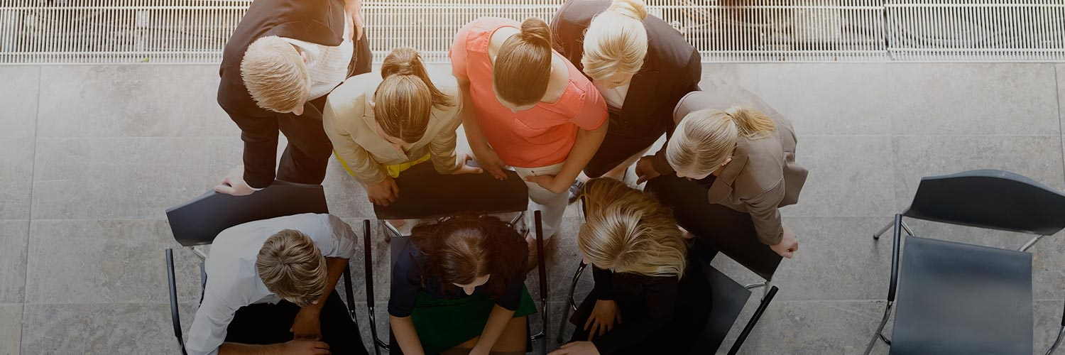 Overhead shot of people having a business meeting